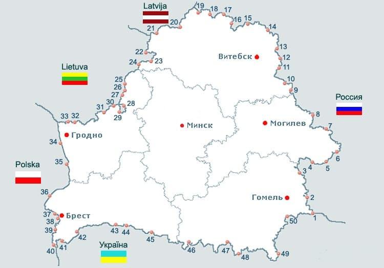 Карта страны с пограничными пунктами