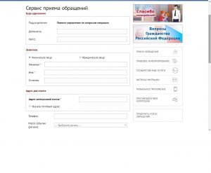 Заполнение необходимых полей для подачи обращения на сайте МВД РФ