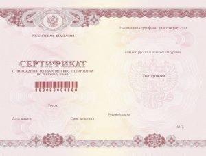 Как выглядит сертификат о сдаче экзамена